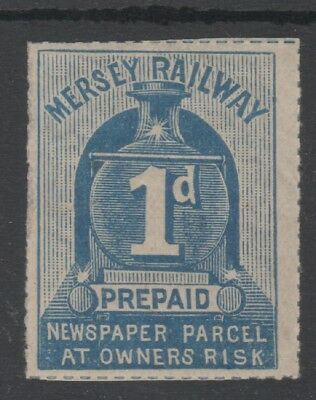 MERSEY RAILWAY 1d BLUE NEWS PARCEL STAMP UNUSED LOCOMOTIVE FRONT