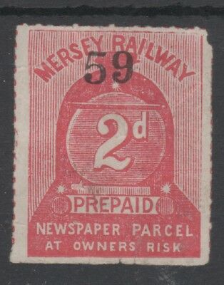 MERSEY RAILWAY 2d CARMINE NEWS PARCEL STAMP UNUSED LOCOMOTIVE FRONT CONTROL NO