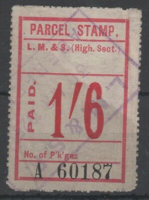 LMS RAILWAY HIGHLAND SECTION 1/6d PINK PAID PARCEL STAMP USED ABERFELDY