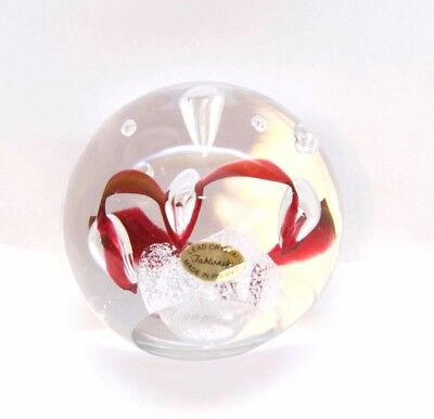 Paperweight Art Glass Lead Crystal Adam Jablonski Poland Red Controlled Bubble