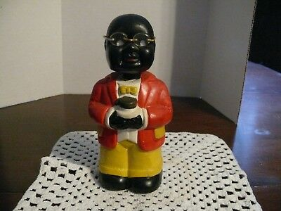 "Americana Bank - Black -  Bobble Head - Ceramic with Stopper - Approx. 7"" High"