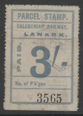 Scotland Caledonian Railway 3/- Blue Stamp Issued At Lanark Light Cancel