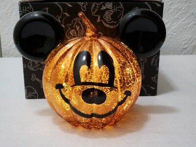 Disney Parks Halloween Mickey Mouse Light Up Pumpkin Jack-O-Lantern Figure NEW