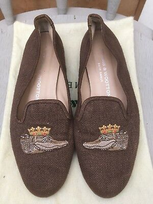 Stunning Stubbs & Wootton Linen Loafers Smoking Shoes Size US 7.5 UK 5