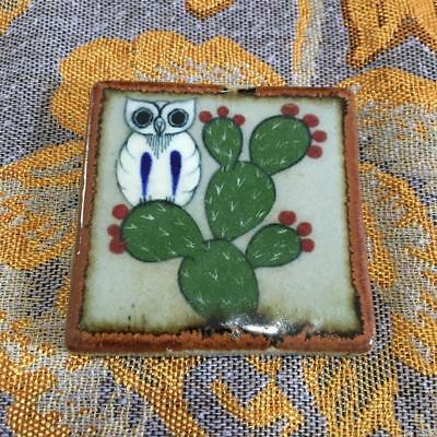 Owl Resting on Cactus Tonala Wall Art, Mexican Gloss Finished Tile