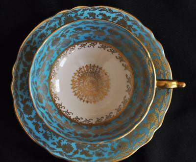 Stunning Paragon Fine Bone China Wide Mouth Tea Cup & Saucer Turquoise & Gold