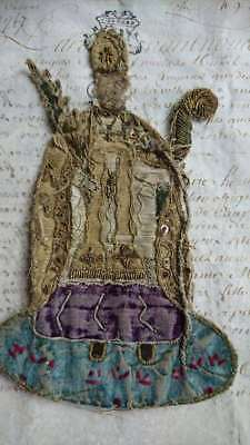 DIVINE ANTIQUE FRENCH 18th CENTURY RELIGIOUS VESTMENT FRAGMENT FOR PROJECTS