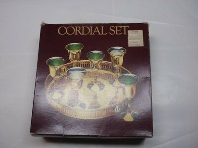 Vintage Brass Cordial Wine Goblets and Tray-silver plated
