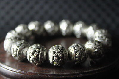 Decor Handwork Collectable Old Miao Silver Carve Flower Bead Elegant Bracelet