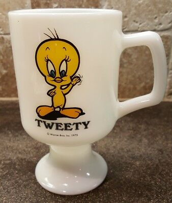 Vintage Looney Tunes Tweety Bird Great America Milk Glass Pedestal Mug 1975