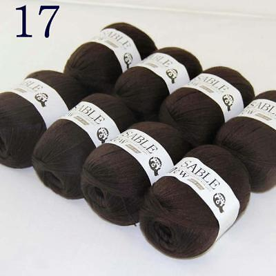Sale 8 Skeins Super Pure Sable Cashmere Scarves Hand Knit Wool Crochet Yarn 17