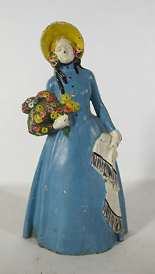 Antique Cast Iron Colonial Woman with Flowers & Shawl Figural Doorstop NR #6 yqz