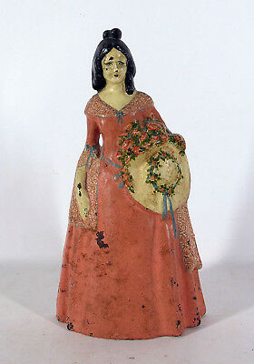 Antique National Foundry Cast Iron Victorian Large Woman Figural Doorstop #8 yqz