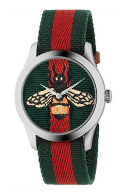 3ccf2a49b17 Gucci Le Marché des Merveilles Green and Red Web Nylon Unisex Watch  YA1264060