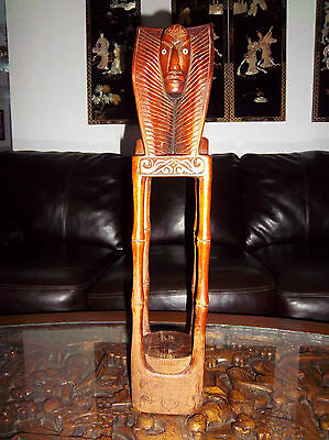Huge Statue Figurine Oriental Solid Wood Hand Carved Tiki Wooden Carved Holder