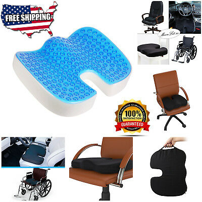 Orthopedic Seat Cushion Large Back Tailbone Pain Gel Memory Foam Coccyx Sciatica