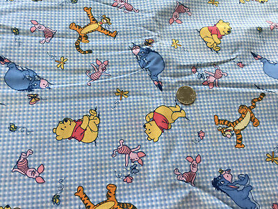 100 % Cotton Winnie The Pooh Traditional Piglet Gingham By The Yard Quilt Fabric