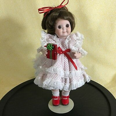 """Porcelain Googly Eye Doll 11"""" Artist Made Reproduction Christmas Holiday"""