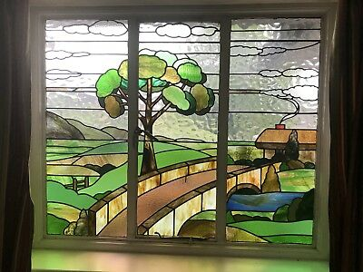 Original 1920's Art Deco Stained Glass Window 50 Inches High, 59 3/4 Inches Wide