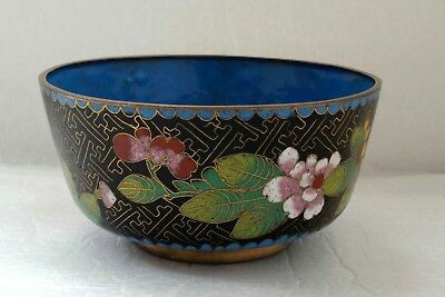 Vintage Chinese Black Cloisonne Enamel Bowl Flowers - Blue Interior 11cm Dia.