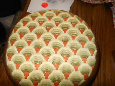 Vintage Mid Century Foot Stool w/Hand Made Needlepoint Cover