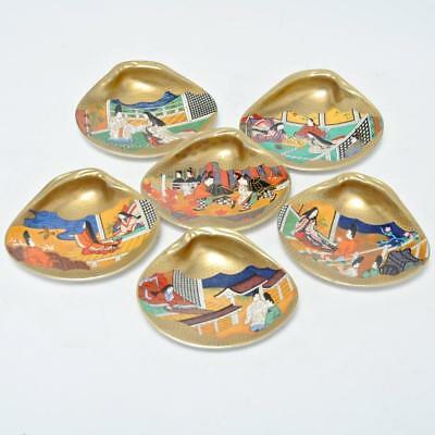 Vintage Set Of 6 Japanese Shell Form Dishes With Different Scenes
