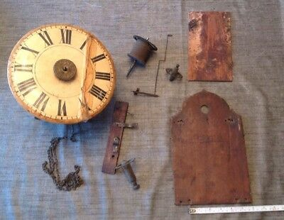Antique Clock Wall Clock Movement And Collection Of Spare Parts Ex Clockmaker