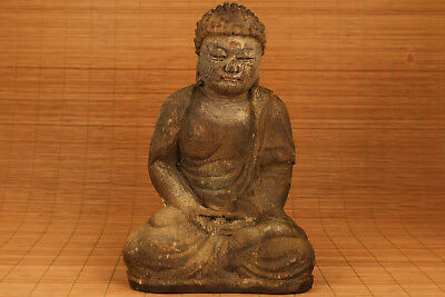 Rare Big chinese old Wood Hand Carved Buddha Monk Statue Figure Ornament