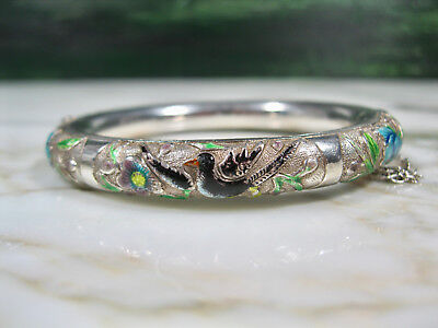 Antique Chinese Silver Hinged Bangle Bracelet W Enameled Repousse Birds Flowers
