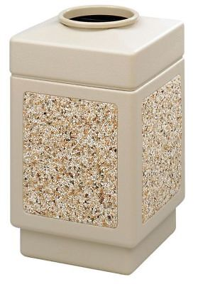 38 gal. Tan Plastic Square Trash Can SAFCO 9471TN