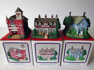 LIBERTY FALLS VILLAGE SET OF 3 Fire Station, Oliver's Cabin & Bowling Saloon