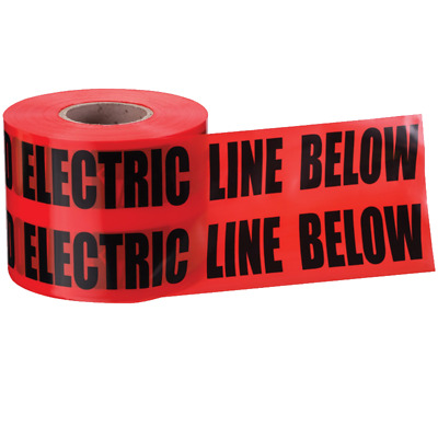 "Ideal 42-201 Underground ""Caution Buried Electric Line"" Tape, Red 3""x1000"