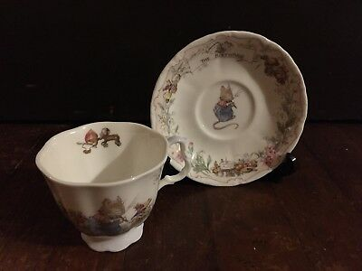 "Royal Doulton Tea Cup And Saucer Set ""The Birthday"" 1987 Brambly Hedge Design"