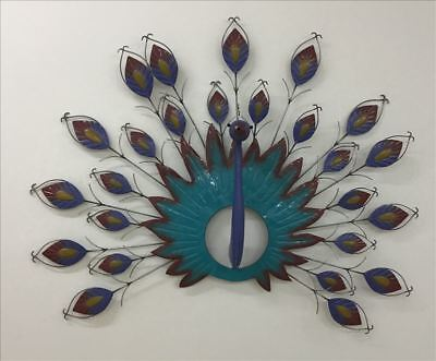 PEACOCK METAL WALL ART  Decor Multicoloured 39x28cm