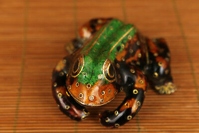 Big chinese old Cloisonne Hand Carved tropical Frog Statue Figure Ornament