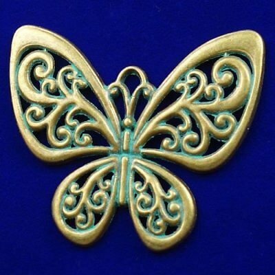 Carved Brass Bronze Butterfly Pendant Bead 55x50x3mm M51628