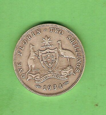 1934  Australian Sterling Silver Florin Two Shilling  Coin