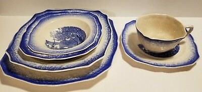 Vintage Salem China Co. Blue  Corot 1 Place Setting Dinnerware Set 6 Pieces RARE