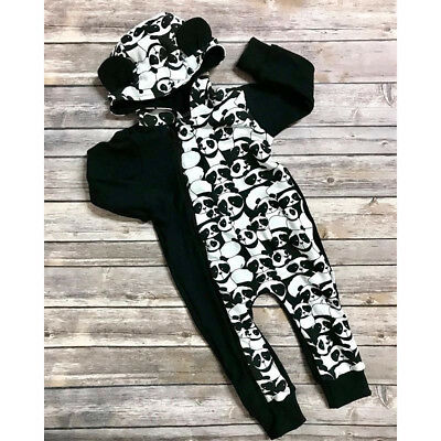 Panda Newborn Baby Boy Girl Casual Hooded Zipper Romper Jumpsuit Outfits Clothes