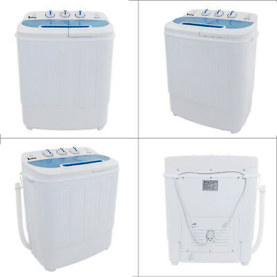 13lbs Portable Mini Washing Machine Compact Twin Tub Washer Spin & Dryer,White