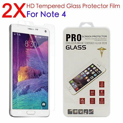 2pc Premium Real Tempered Glass Screen Protector Film Guard Samsung Galaxy Note4