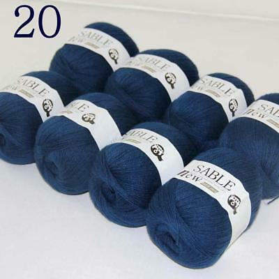 Sale 8 Skeins Super Pure Sable Cashmere Scarves Hand Knit Wool Crochet Yarn 20
