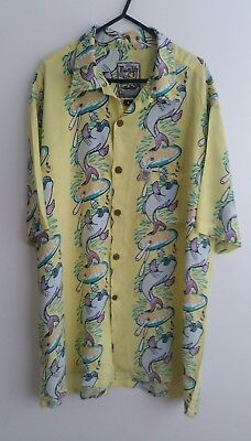 MAMBO LOUD SHIRTS Series Vintage Retro FISH & CHIPS Mens Size Large Yellow