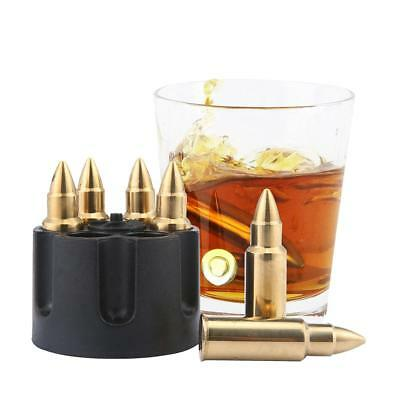 Set of 6 Stainless Steel Bullet Shaped Whiskey Stones Ice Chiller Cooling Cubes
