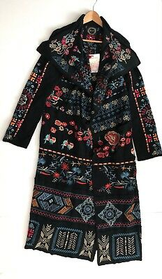 Johnny Was Biya Ryleit Patchwork Wrap Embroidered Long Duster Black Cotton M
