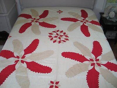 Antique mid 1800s Princess Feather-Stars Applique Quilt Top-Summer Quilt-Flimsy