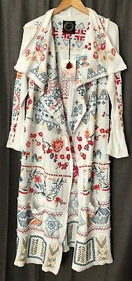 Johnny Was Biya Ryleit Patchwork Wrap Embroidered Long Duster White Cotton S