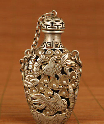 Chinese Old White Copper Hand Hollow out Carved Gold fish Statue Snuff Bottle
