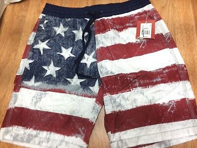 08f3bece53 MOSSIMO SUPPLY CO. Mens Unlined American Flag Swim Trunks Nwt Size S ...