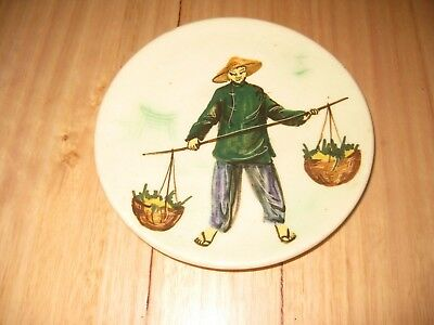 Martin Boyd signed  wall plaque / dish hand painted Chineese figure